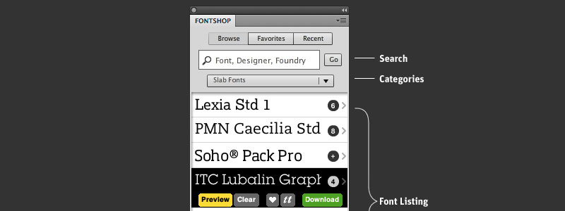 Homepage of the Font Shop plugin